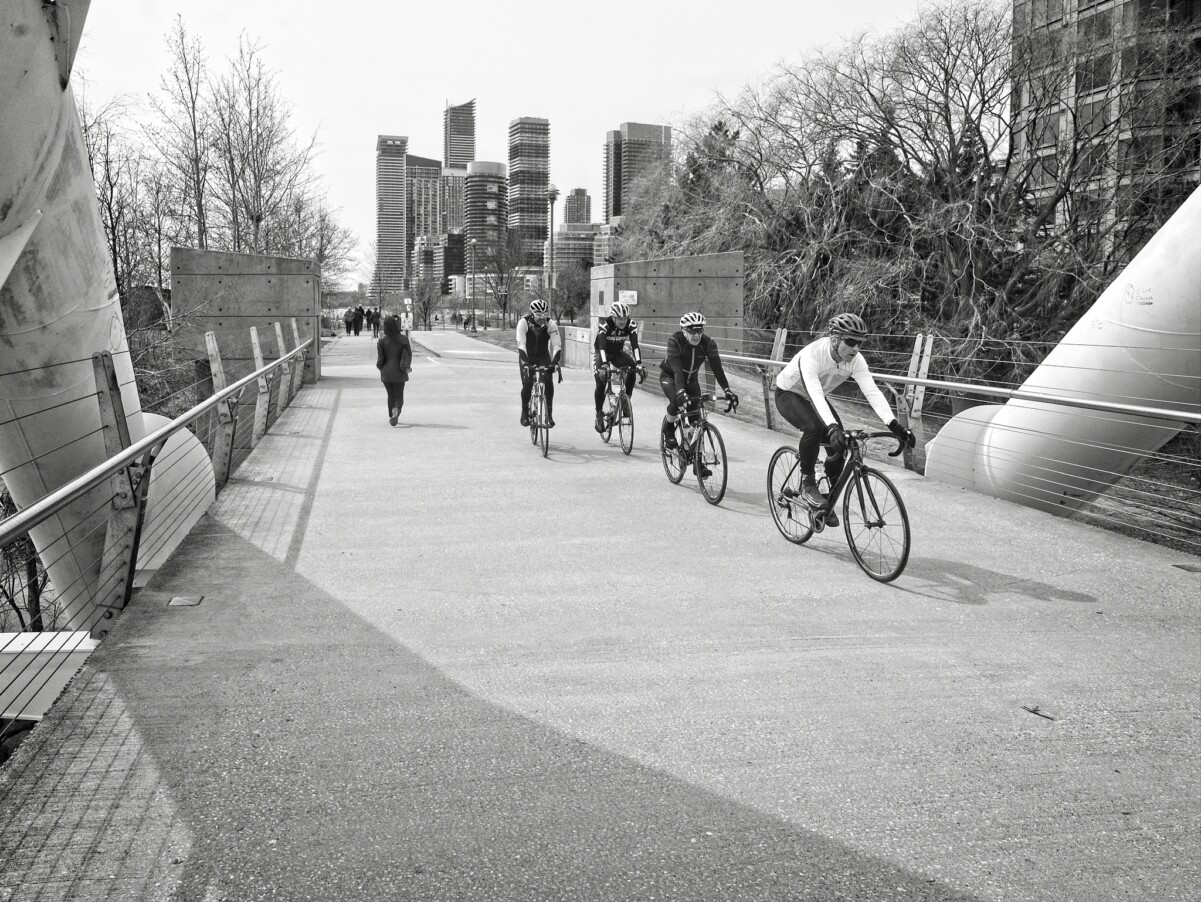 Cycling Across the Bridge
