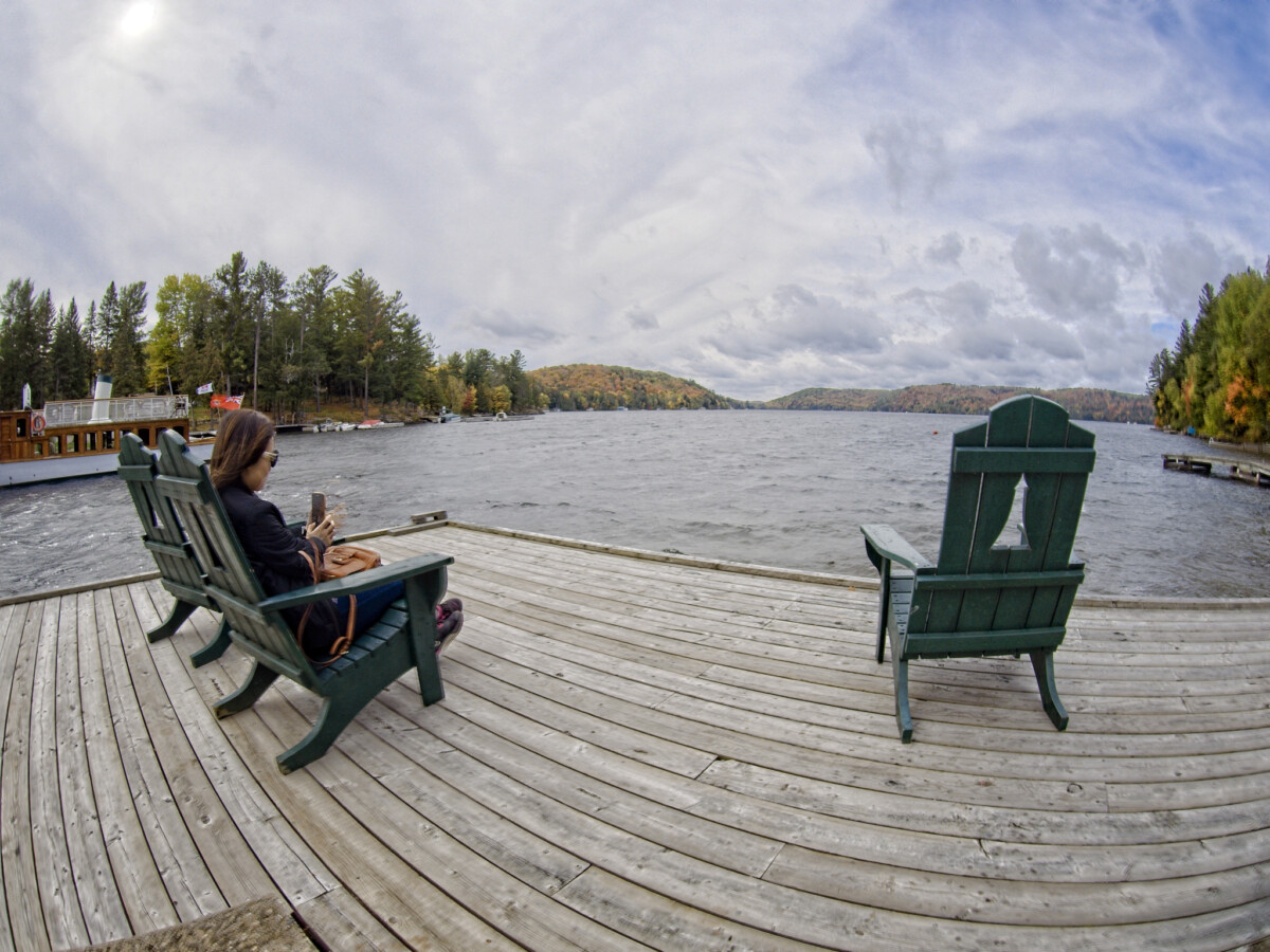 Fisheye View of Autumn Scenery in Muskoka